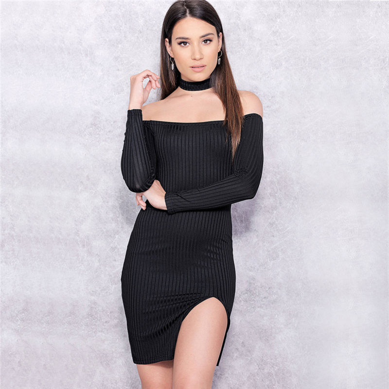 Off Shoulder Long Sleeve Split Bodycon Short Black Dress - Oh Yours Fashion - 5