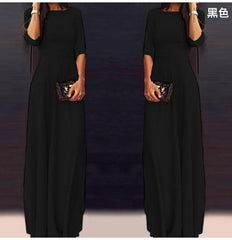 Slim Pure Color 3/4 Sleeves Pleated Long Maxi Dress - Oh Yours Fashion - 6