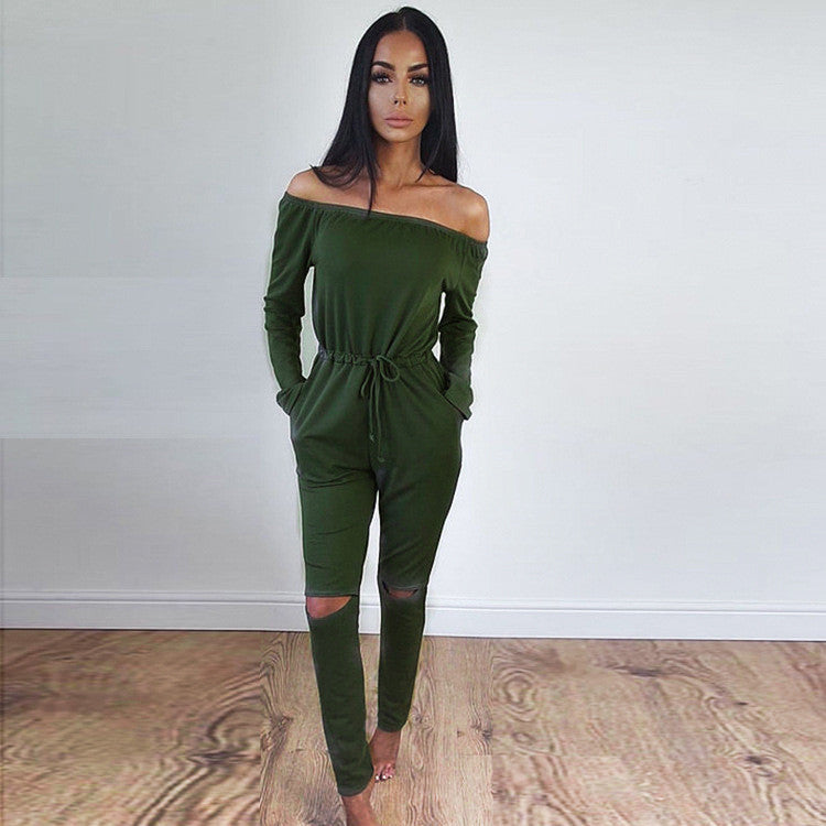 Off Shoulder Long Sleeve Draw String Waist Long Jumpsuit - Oh Yours Fashion - 5
