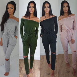 Off Shoulder Long Sleeve Draw String Waist Long Jumpsuit - Oh Yours Fashion - 3