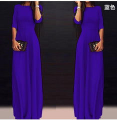 Slim Pure Color 3/4 Sleeves Pleated Long Maxi Dress - Oh Yours Fashion - 7