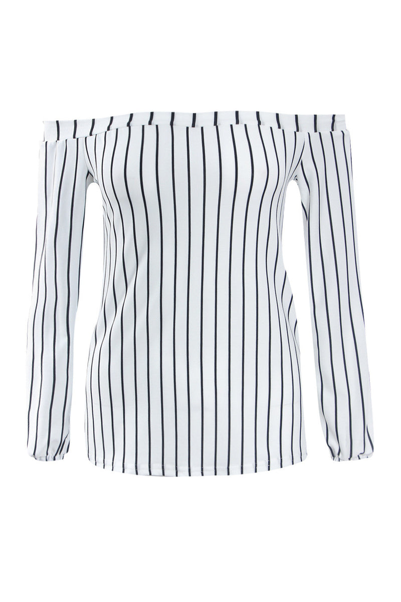 Sexy Off Shoulder Long Sleeve Stripe White Blouse - Oh Yours Fashion - 4