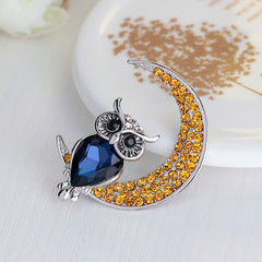 Beautiful Owl Moon Diamond Brooch - Oh Yours Fashion - 3