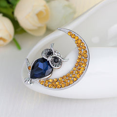 Beautiful Owl Moon Diamond Brooch - Oh Yours Fashion - 2