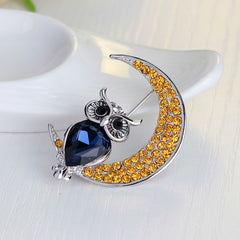 Beautiful Owl Moon Diamond Brooch - Oh Yours Fashion - 4