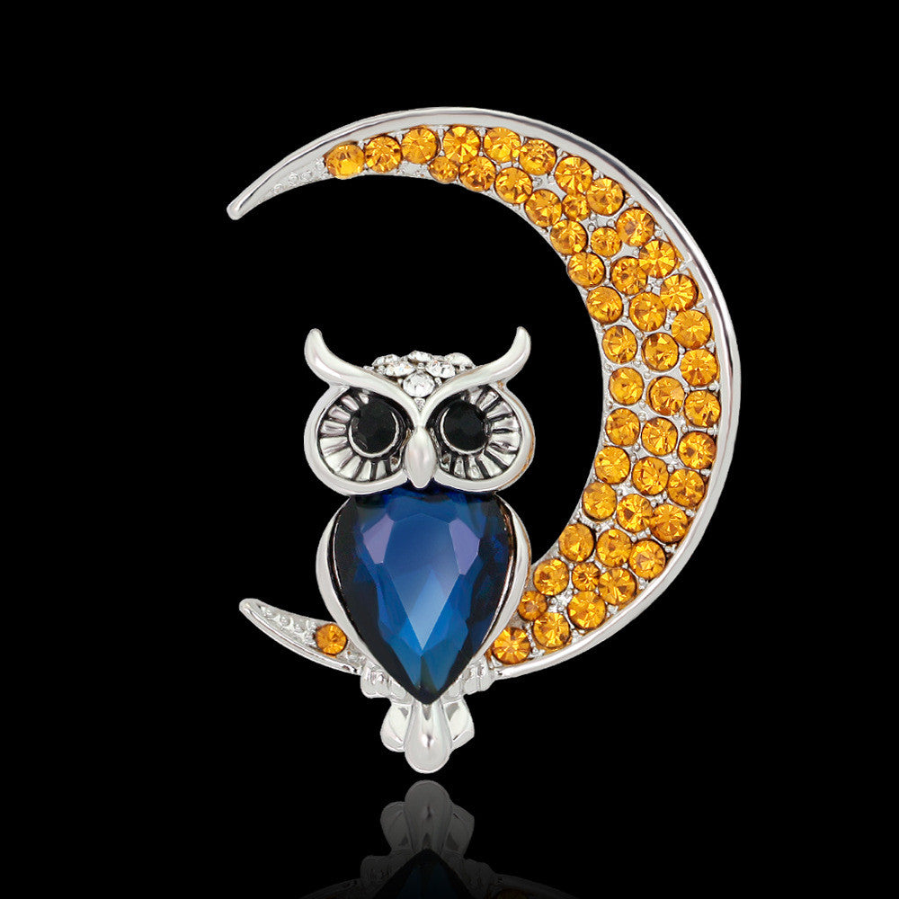 Beautiful Owl Moon Diamond Brooch - Oh Yours Fashion - 1