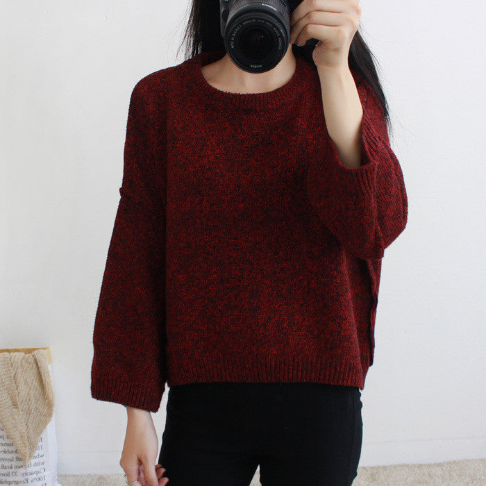 Loose Batwing Sleeve Pullover Knitting Sweater - Oh Yours Fashion - 5