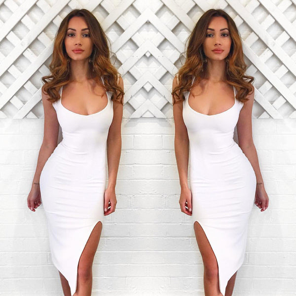 Sexy Sleeveless Bodycon Split Irregular Dress - Oh Yours Fashion - 1