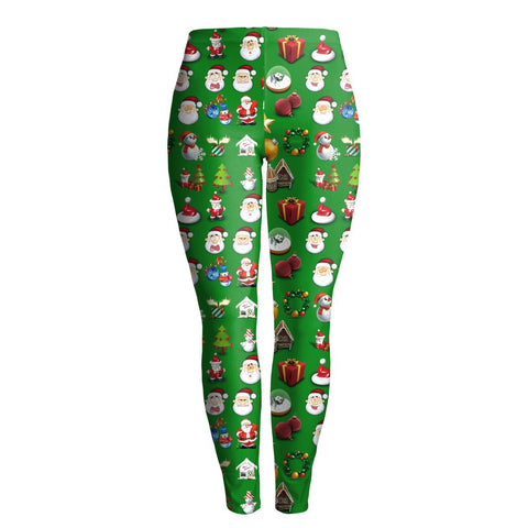 Women Digital Color Print Mid Waist Skinny Christmas Party Legging