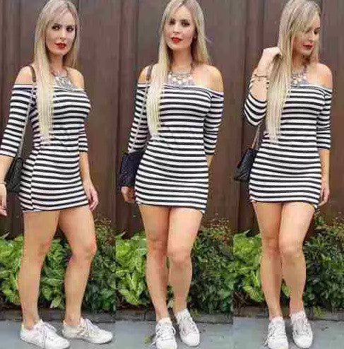 Fashion Off Shoulder Long Sleeve Stripe Short Bodycon Dress - Oh Yours Fashion - 4