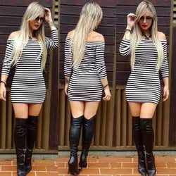 Fashion Off Shoulder Long Sleeve Stripe Short Bodycon Dress - Oh Yours Fashion - 1