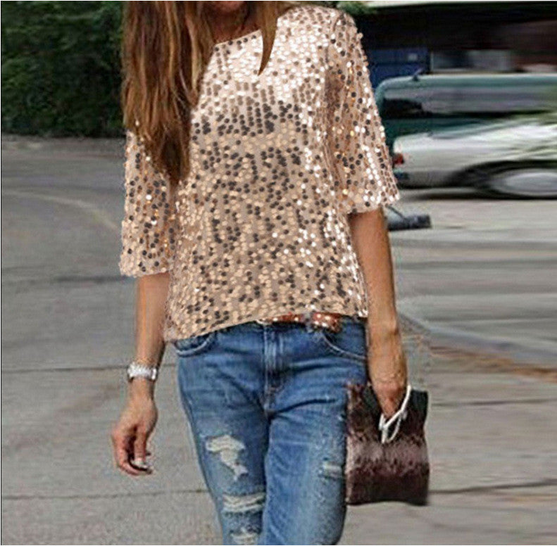Sexy Sequins 1/2 Sleeve Scoop Loose T-shirt - Oh Yours Fashion - 8