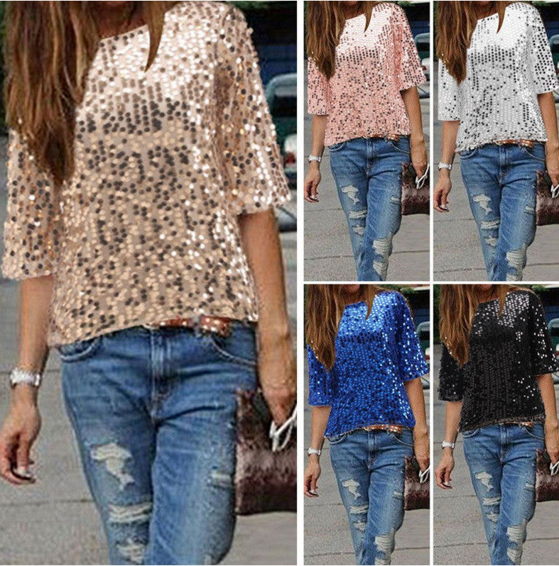 Sexy Sequins 1/2 Sleeve Scoop Loose T-shirt - Oh Yours Fashion - 3