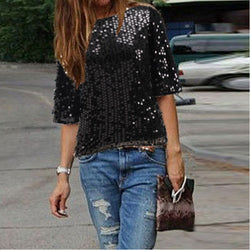 Sexy Sequins 1/2 Sleeve Scoop Loose T-shirt - Oh Yours Fashion - 1