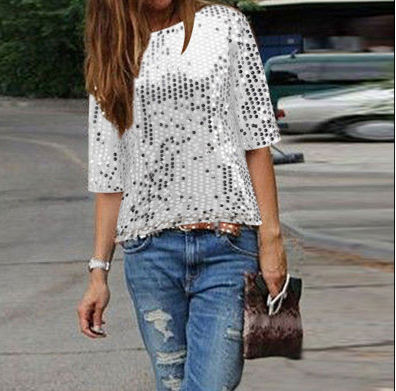 Sexy Sequins 1/2 Sleeve Scoop Loose T-shirt - Oh Yours Fashion - 6
