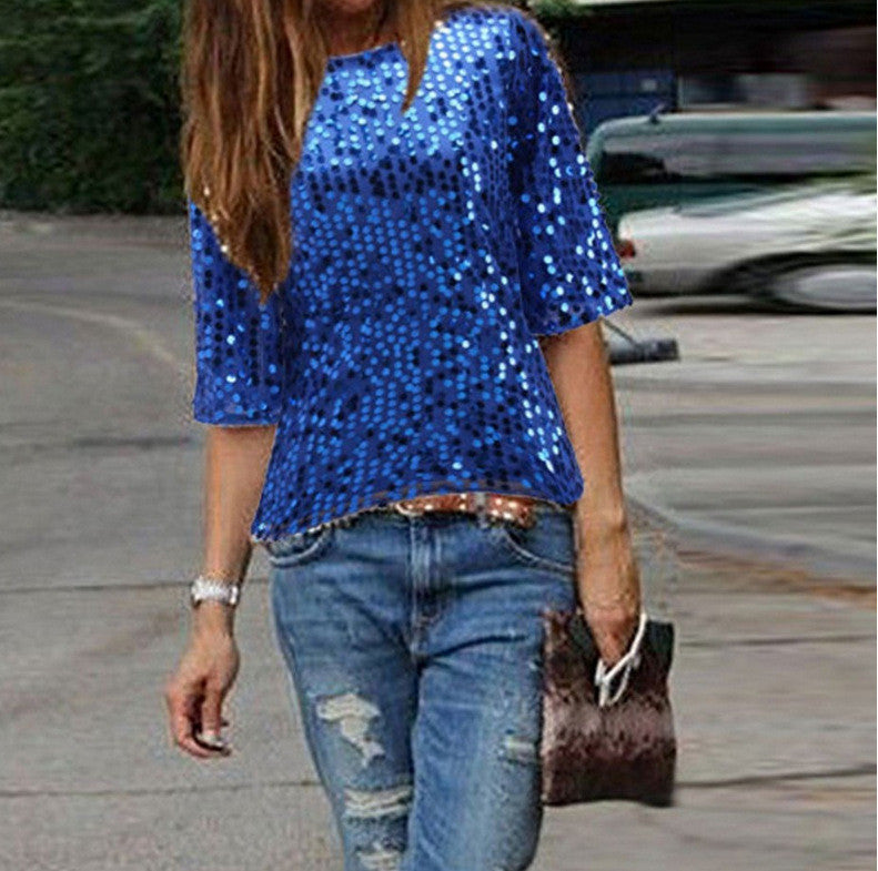 Sexy Sequins 1/2 Sleeve Scoop Loose T-shirt - Oh Yours Fashion - 7