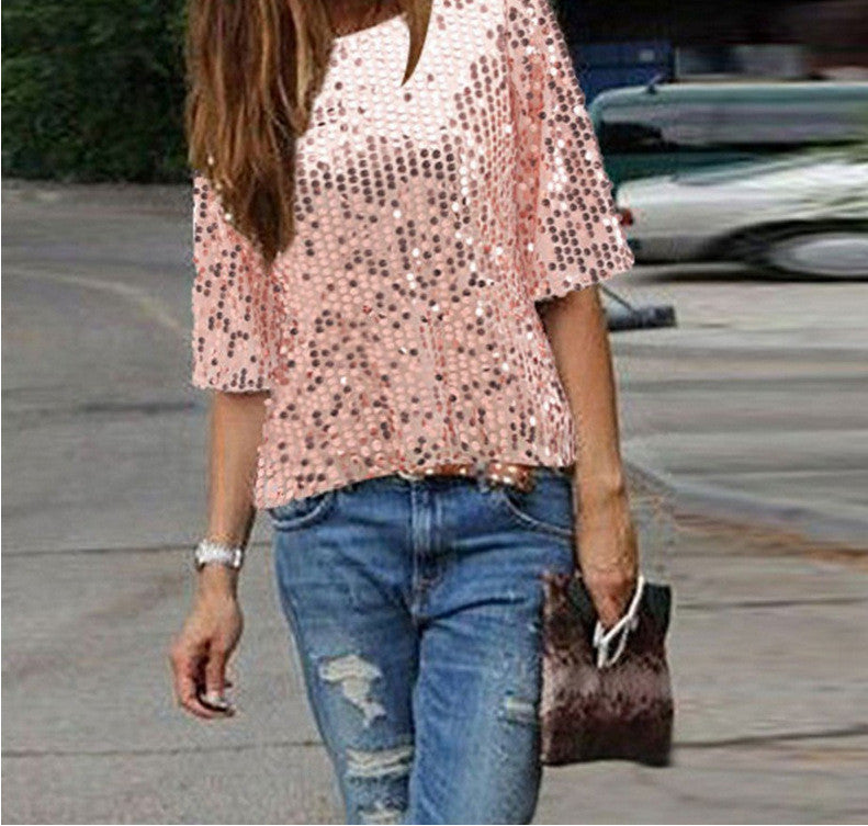 Sexy Sequins 1/2 Sleeve Scoop Loose T-shirt - Oh Yours Fashion - 5