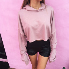 Hooded Long Sleeves Pure Color Casual Crop Top Sweatshirt - Oh Yours Fashion - 4