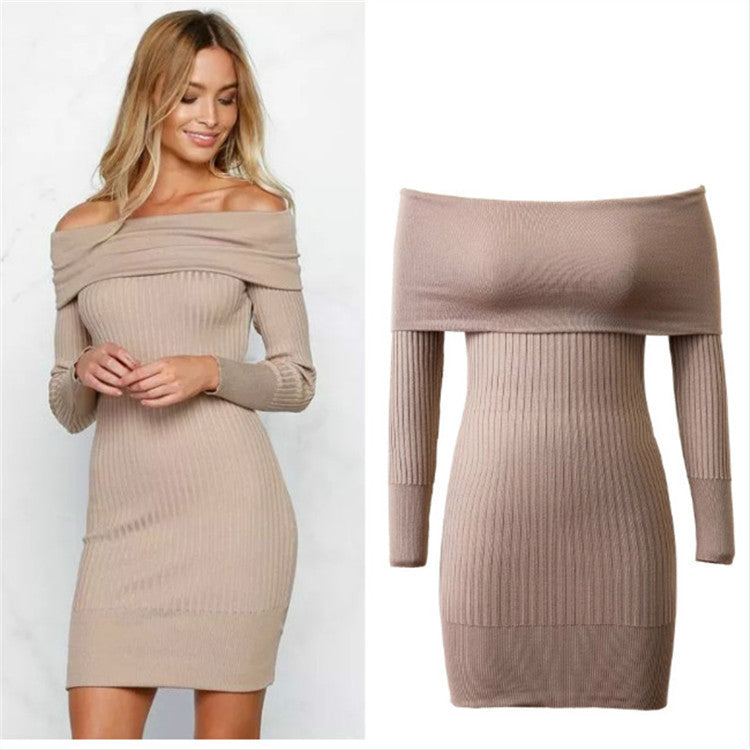 Off Shoulder Bodycon Knitting Sweater Dress - Oh Yours Fashion - 1