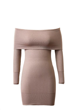 Off Shoulder Bodycon Knitting Sweater Dress - Oh Yours Fashion - 4