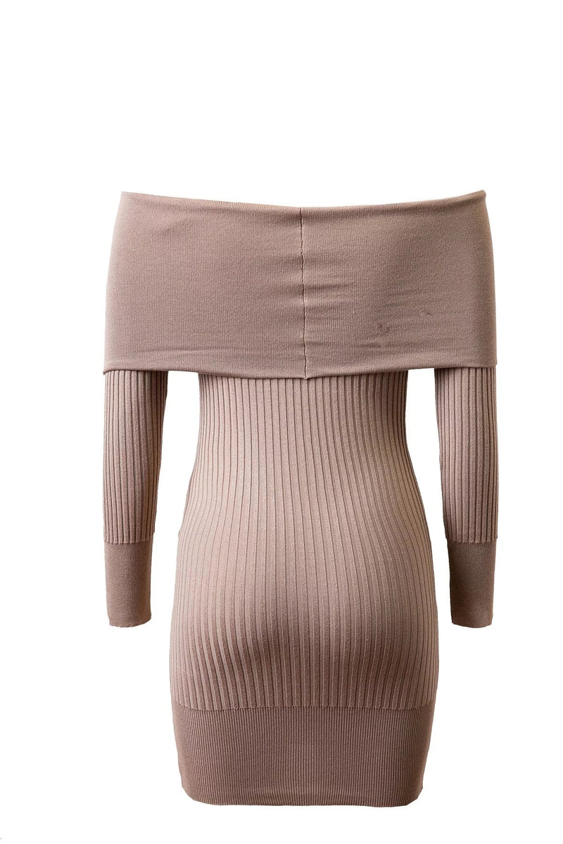 Off Shoulder Bodycon Knitting Sweater Dress - Oh Yours Fashion - 10