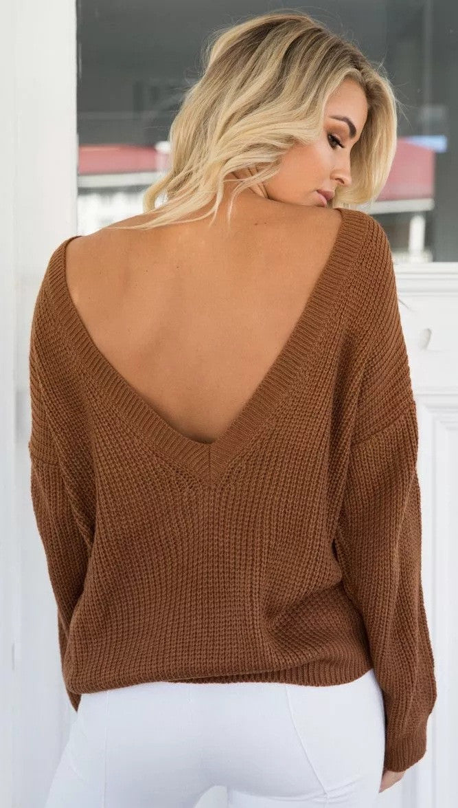 Sexy Deep V Neck Knitting Sweater - Oh Yours Fashion - 7