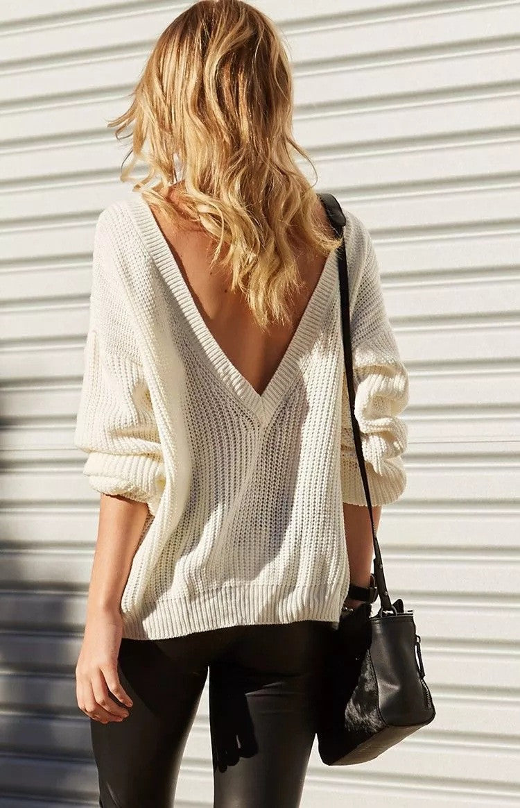 Sexy Deep V Neck Knitting Sweater - Oh Yours Fashion - 4