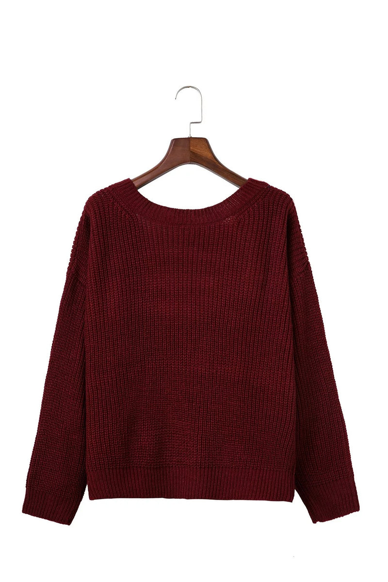 Sexy Deep V Neck Knitting Sweater - Oh Yours Fashion - 8