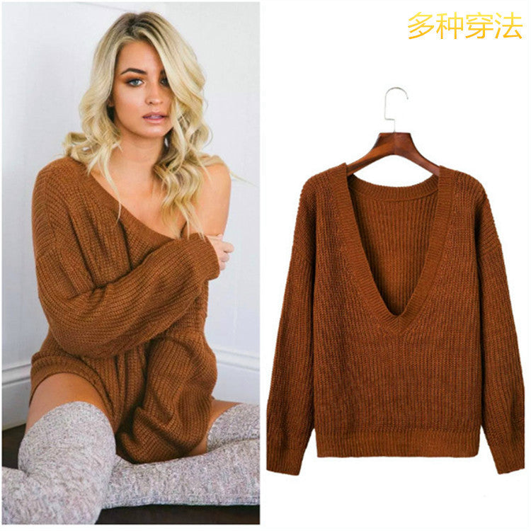Sexy Deep V Neck Knitting Sweater - Oh Yours Fashion - 1