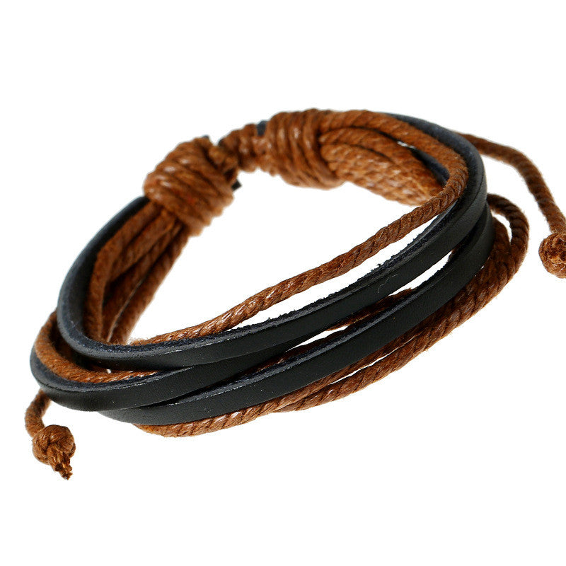 Leisure Hand Woven Leather Bracelet - Oh Yours Fashion - 4