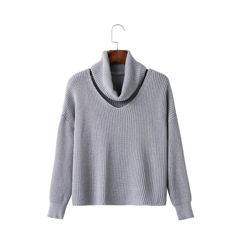 Fashion High Neck Hollow Out Pullover Knitting Sweater - Oh Yours Fashion - 4
