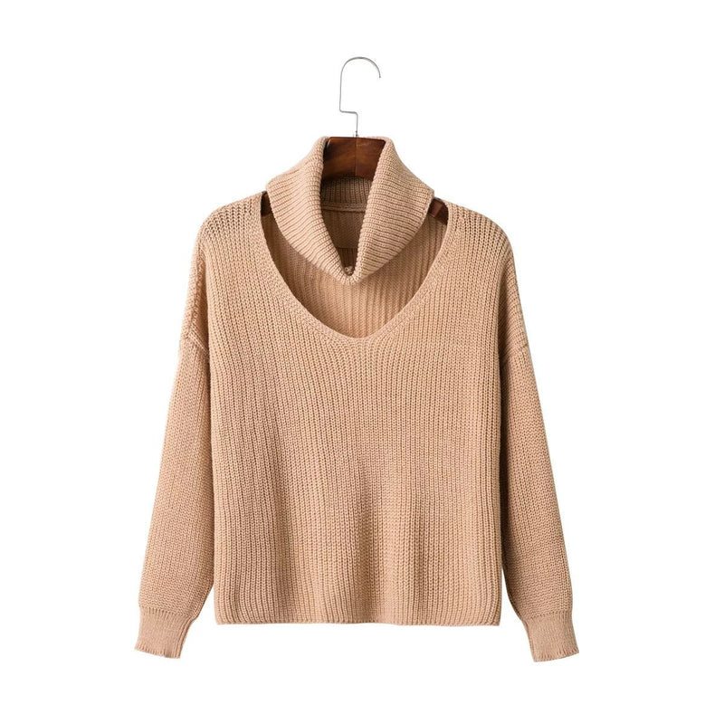 Fashion High Neck Hollow Out Pullover Knitting Sweater - Oh Yours Fashion - 3