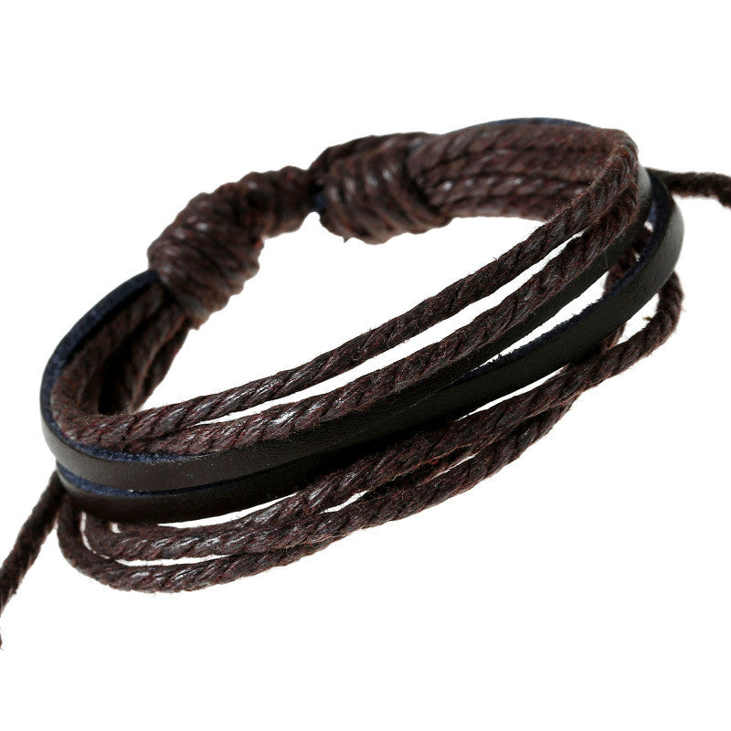 Leisure Hand Woven Leather Bracelet - Oh Yours Fashion - 2