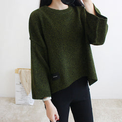 Loose Batwing Sleeve Pullover Knitting Sweater - Oh Yours Fashion - 1