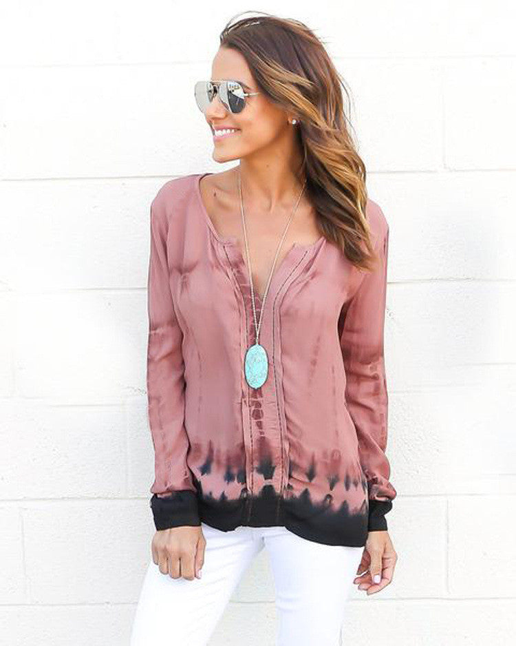 Fashion Pink Tie-Dye Leaking Print Long Sleeve Blouse - Oh Yours Fashion - 4