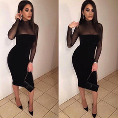 Sexy Long-Sleeved Perspective Bodycon Knee-length Dress - Oh Yours Fashion - 1