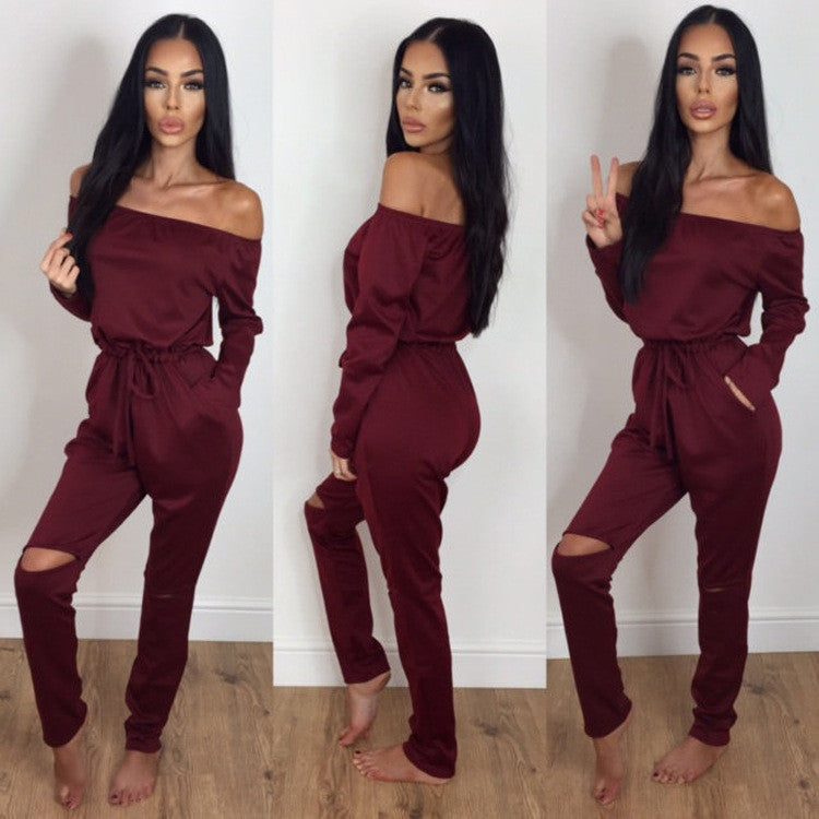 Off Shoulder Long Sleeve Draw String Waist Long Jumpsuit - Oh Yours Fashion - 8