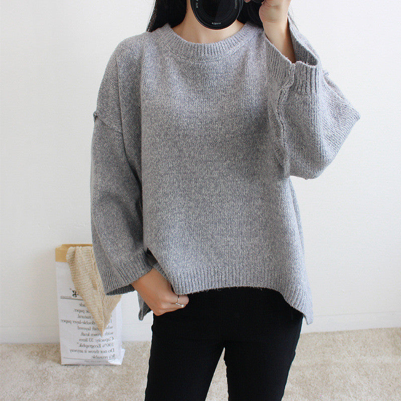 Loose Batwing Sleeve Pullover Knitting Sweater - Oh Yours Fashion - 6