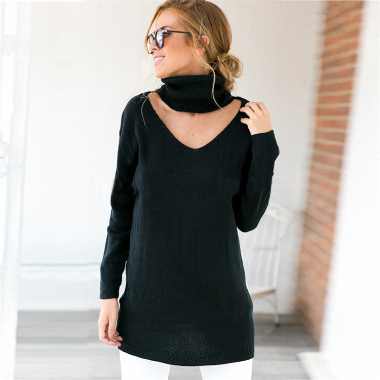 Loose Turtle Neck Hollow Out V Neck Pure Color Sweater - Oh Yours Fashion - 6