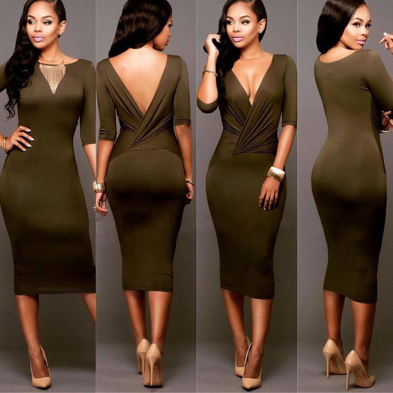 Sexy Wrap Deep V Neck 1/2 Sleeves Bodycon Multi Dress - Oh Yours Fashion - 5