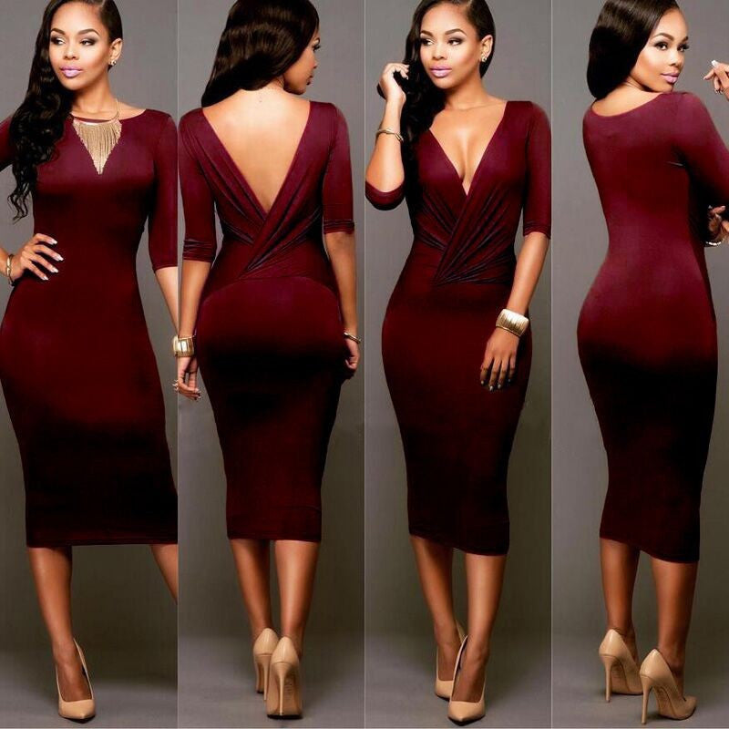 Sexy Wrap Deep V Neck 1/2 Sleeves Bodycon Multi Dress - Oh Yours Fashion - 1