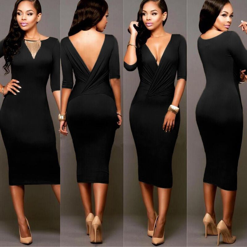Sexy Wrap Deep V Neck 1/2 Sleeves Bodycon Multi Dress - Oh Yours Fashion - 4