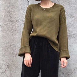 Retro Loose Ribbed Knit Bell Long-Sleeved Sweater - Oh Yours Fashion - 1