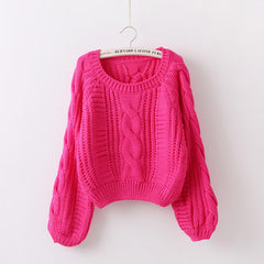 Cable Knit High-waist Loose Short Pullover Sweater - Oh Yours Fashion - 6