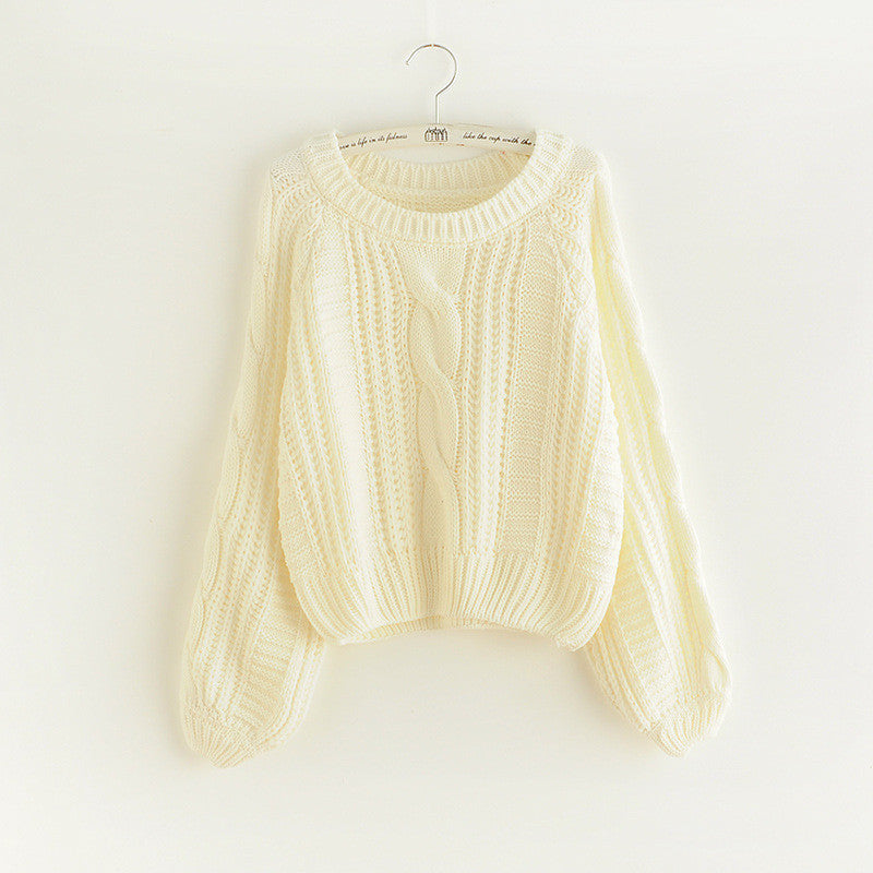 Cable Knit High-waist Loose Short Pullover Sweater - Oh Yours Fashion - 5