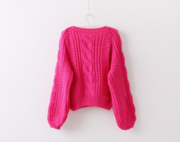Cable Knit High-waist Loose Short Pullover Sweater - Oh Yours Fashion - 7