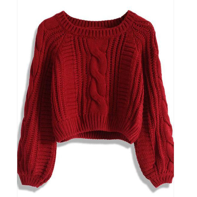 Cable Knit High-waist Loose Short Pullover Sweater - Oh Yours Fashion - 1