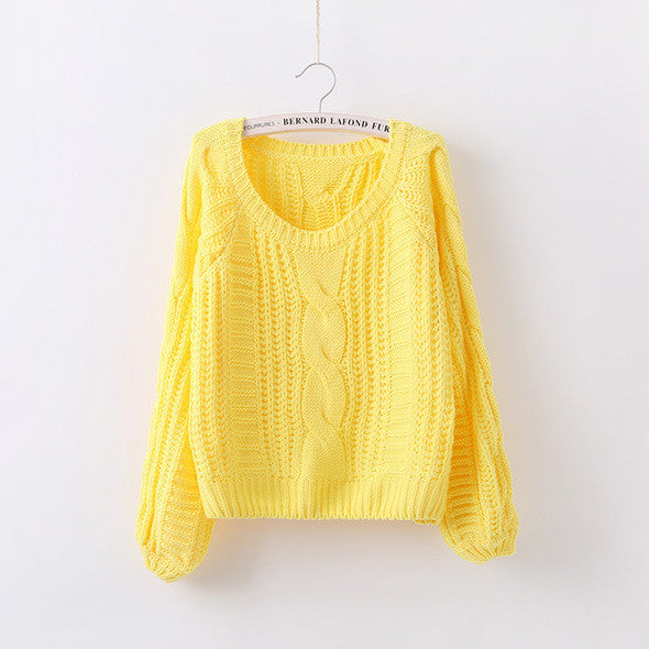 Cable Knit High-waist Loose Short Pullover Sweater - Oh Yours Fashion - 3