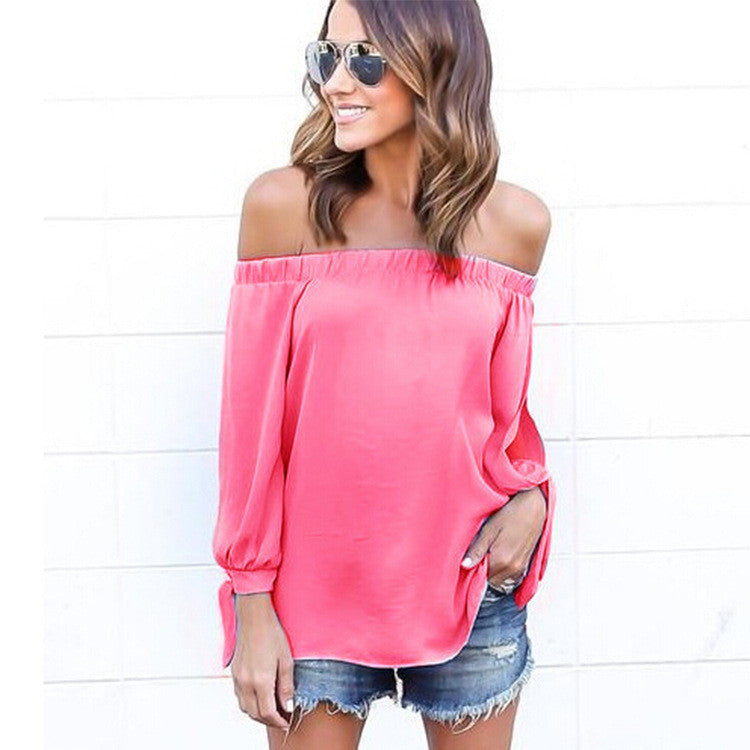 Off-shoulder Split Casual Pure Color Long Sleeves Blouse - Oh Yours Fashion - 7