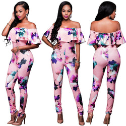 Plus Size Floral Print Off Shoulder Falbala Long Jumpsuit